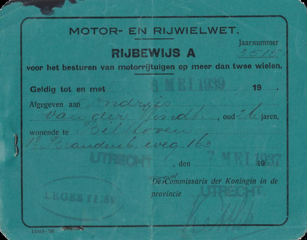 Rijbewijs Andries van der Windt uit 1937